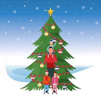 Árvore de natal e homem com filhos, ilustração de feliz natal