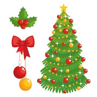 Árvore de natal e ícones decorativos