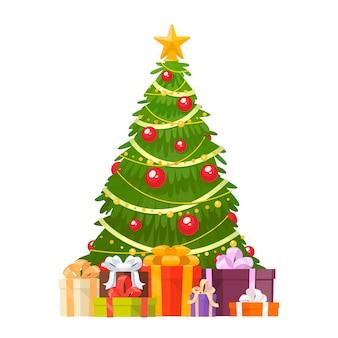 Árvore de natal e presentes de feriado