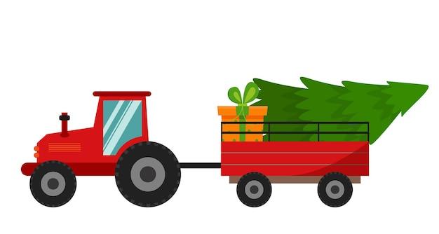 Árvore de natal e presentes ícone de ilustração vetorial de trator vermelho de natal
