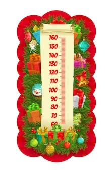 Árvore de natal e presentes para crianças, medidor de gráfico de altura