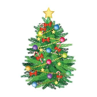 Árvore de natal e versão cartoon de decoração