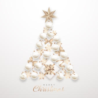 Árvore de natal elegante com enfeites brancos 3d realistas
