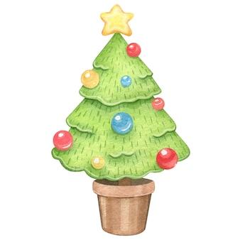 Árvore de natal em aquarela com bolas.
