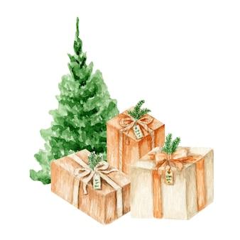 Árvore de natal em aquarela verde com ilustração de caixas de presentes
