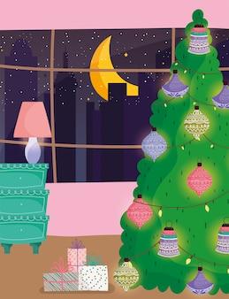 Árvore de natal em casa bolas decorativas candeeiro de mesa e janela noite cidade