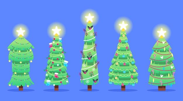 Árvore de natal em design plano