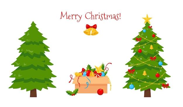 Árvore de natal, enfeites na caixa e árvore de natal decorada isolada.