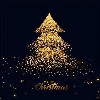 Árvore de natal feita com brilhos dourados