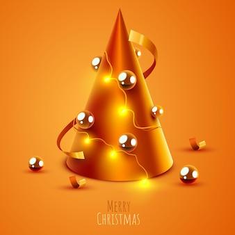 Árvore de natal feita com cone dourado feliz natal e banner de feliz ano novo
