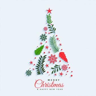 Árvore de natal feita com elementos decorativos
