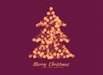 Árvore de Natal feita com fundo de luzes de bokeh