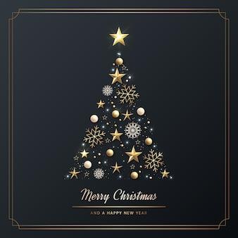 Árvore de natal feita de decoração dourada realista