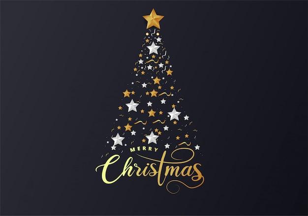 Árvore de natal feita de folha de ouro de recorte e estrelas de papel branco
