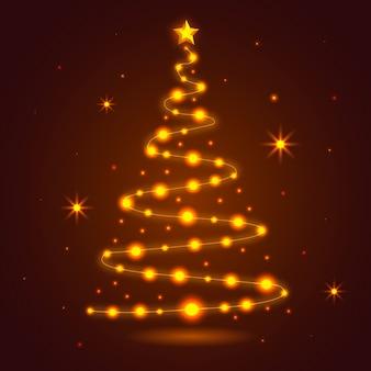Árvore de natal feita de fundo de lâmpadas