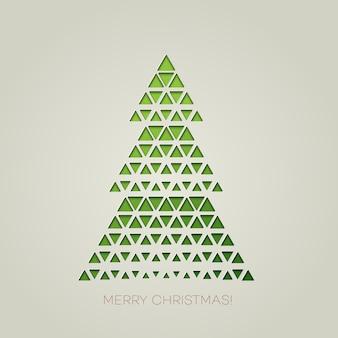 Árvore de natal feliz com forma de triângulo