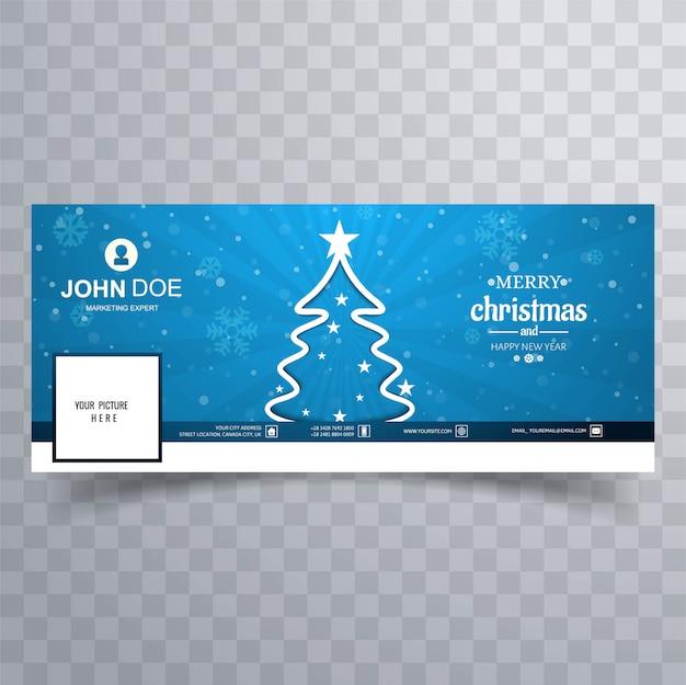 Árvore de natal feliz com modelo colorido de banner do facebook