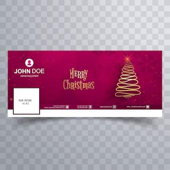 Árvore de natal feliz com o modelo de banner de capa do facebook