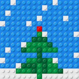 Árvore de natal formada a partir de blocos de construção de plástico