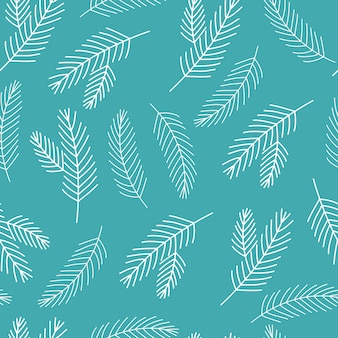 Árvore de natal galho padrão sem emenda azul e branco coleção de inverno