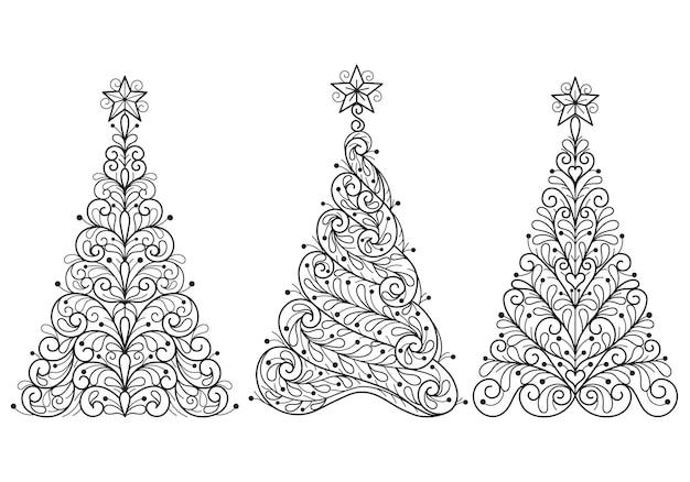 Árvore de natal, ilustração de esboço desenhado de mão para livro de colorir adulto.
