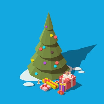 Árvore de natal isométrica e caixas de presente