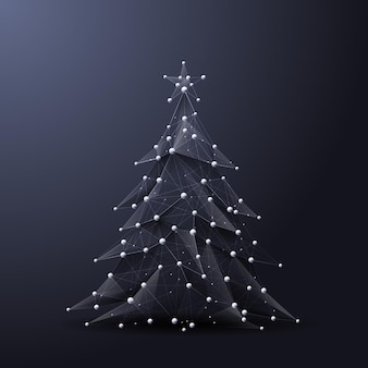 Árvore de natal low poly wireframe imagem vetorial poligonal na forma de um céu estrelado ou espaço