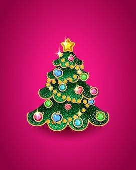 Árvore de natal no formato de um brinquedo de árvore de natal decorada com pedras preciosas