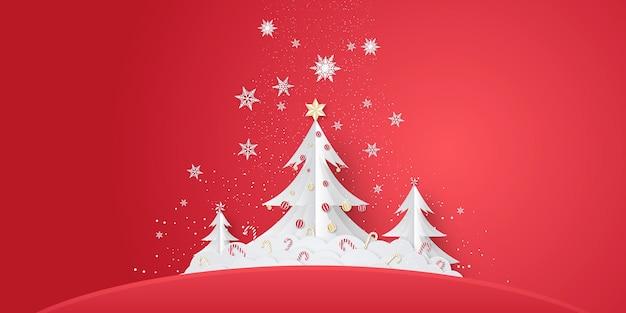 Árvore de natal ou fundo de ano novo em estilo de corte de papel