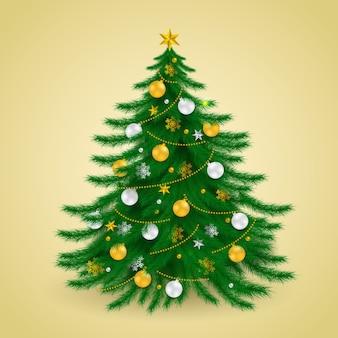 Árvore de natal ouro prata, temporada de feliz natal