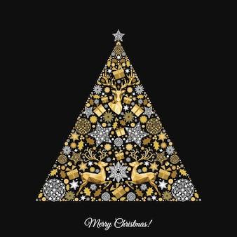 Árvore de natal. padrão de ouro. decoração dourada e branca. feliz ano novo fundo preto. renas de natal, presentes, flocos de neve. molde do vetor para o cartão.