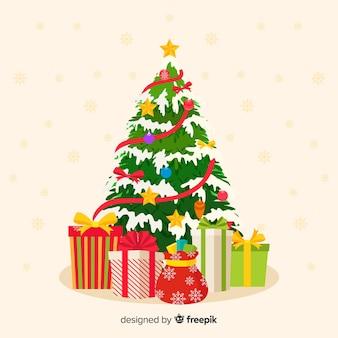Árvore de natal plana com presentes