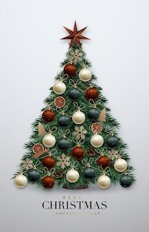 Árvore de natal realista com enfeites