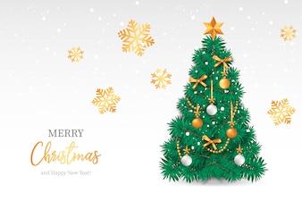 Árvore de Natal realista com fundo nevado