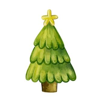 Árvore de natal tradicional com estrela em um fundo branco