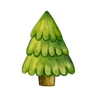 Árvore de natal tradicional em um fundo branco. ilustração em vetor aquarela desenhada à mão. Vetor Premium