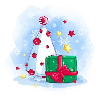 Árvore de natal, uma caixa de presente e estrelas e flocos de neve dourados e vermelhos brilhantes.