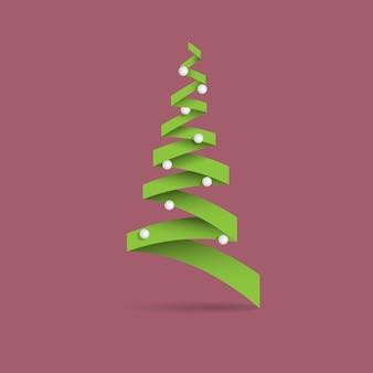 Árvore de natal verde criativa feita de papel com bolas brancas