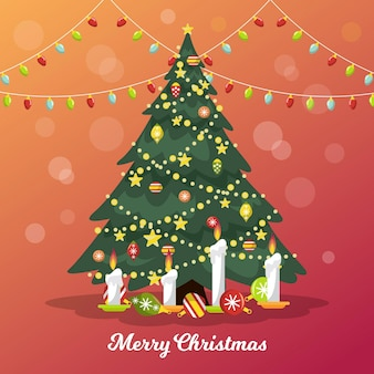 Árvore de natal vintage com velas