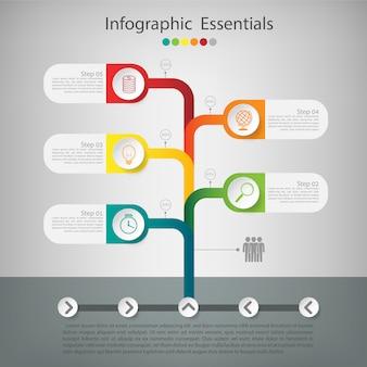 Árvore de negócios timeline infográficos.