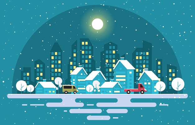 Árvore de neve de inverno neve cidade casa paisagem ilustração Vetor Premium