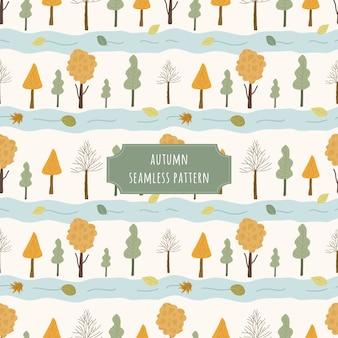 Árvore de outono e rio sem costura padrão