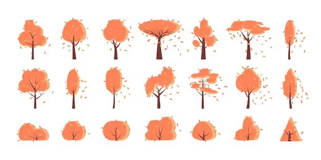 Árvore de outono outono, arbusto, conjunto de desenhos animados plana.