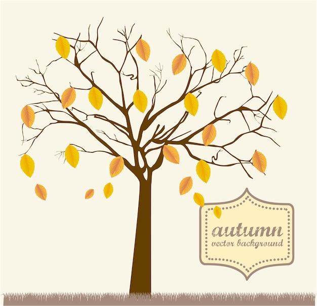 Árvore de outono sobre ilustração em vetor estilo vintage grama