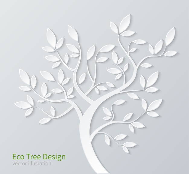 Árvore de papel estilizado branco com galhos e folhas isoladas no fundo branco.