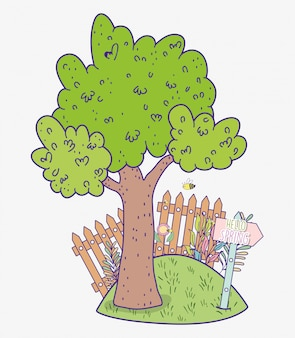 Árvore de primavera com grillage de madeira e emblema