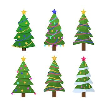 Árvore de símbolo tradicional de ano novo e natal com guirlandas, lâmpada, estrela.