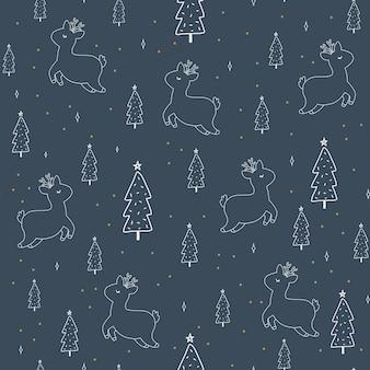 Árvore de símbolos de natal e ano novo e veado escandinavo mão desenhada padrão sem emenda. impressão fofa de vetor. papel digital. elemento de design.