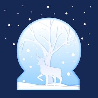 Árvore de veado no globo de neve, ilustração do estilo de corte de papel de inverno