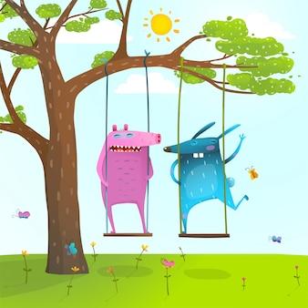 Árvore de verão amigos monstros animais bonitos e engraçados balançando crianças dos desenhos animados
